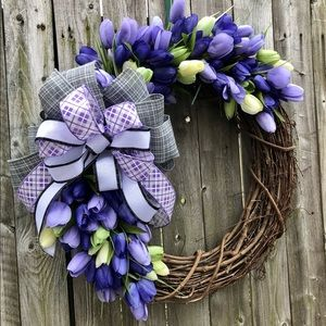 Spring Easter farmhouse tulip grapevine wreath